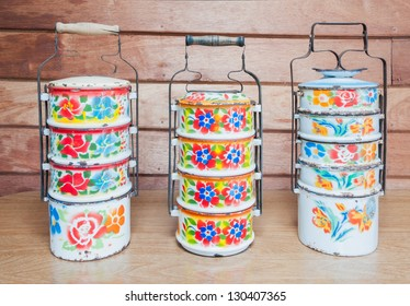 Metal Tiffin, Food Containers with thai painting