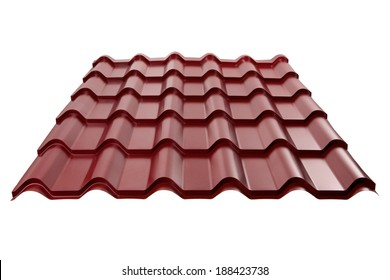 Metal tile isolated on white background. Material for roof.