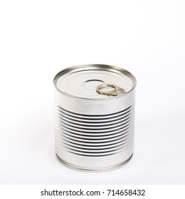 Metal tin can isolated on white background