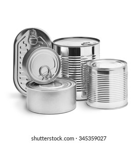 metal tin cans on a white background
