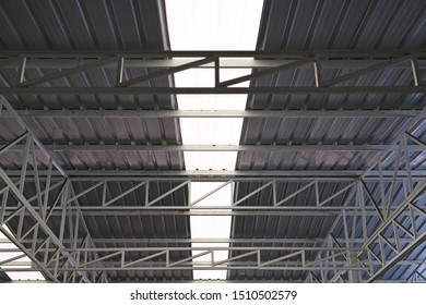 Metal and transparent roof inside.