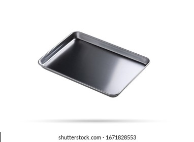 Metal tray on isolated white background