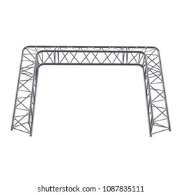 Metal truss girder element. 3d render isolated on white