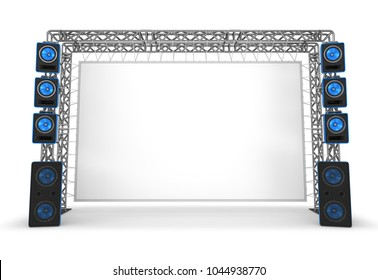 Metal trusses with a screen and acoustic systems. The equipment of a stage, a cinema. 3d illustration