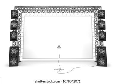 Metal trusses with a screen, acoustic systems and microphone. The equipment of a stage, a cinema. 3d illustration