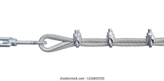 metal turnbuckles fastening of cables with steel rod on white background