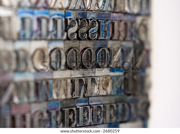 Metal type blocks, used for letterpress printing.