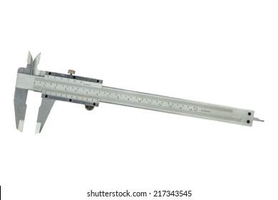 Metal vernier caliper  on white background