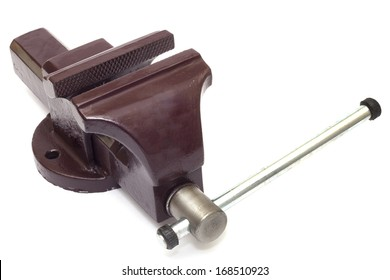 Metal vice on white background