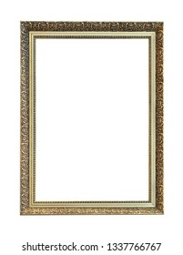 Metal vintage golden vertical frame on white background with clipping path