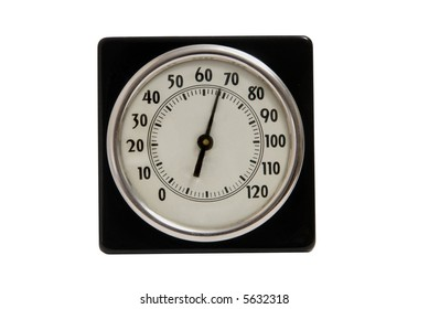 Metal vintage indoor thermometer isolated on white with clipping path