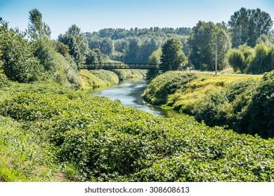 A metal walking bridge spans the Green River in Washington State.