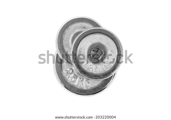 Metal weight of dumbbell on white background