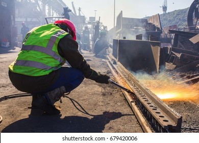 Metal welding cutting & shaping in industrial ship yard - Durban, South Africa