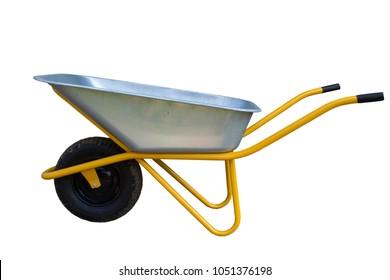 metal wheelbarrow cart isolated on white