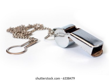 Metal whistle with chain to hang up