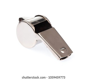 metal whistle isolated on white background