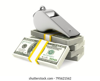 Metal whistle and money on white background. Isolated 3D illustration