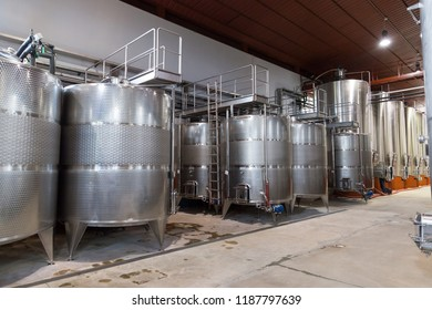 Metal wine barrels in a factory in Italy, Tuscan.