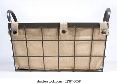Metal Wire Basket with Cloth Interior and Handles Side View