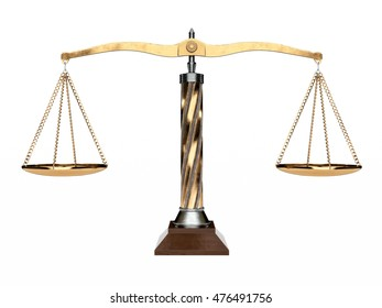 Metal and wood balanced scale isolated on a white background. 3D Illustration.