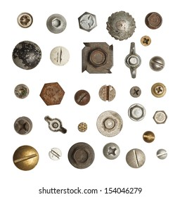 Metal, Wood and Drywall Screws and Bolts  Isolated on White Background.