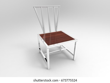 metal wooden chair isolated white background 3d rendering