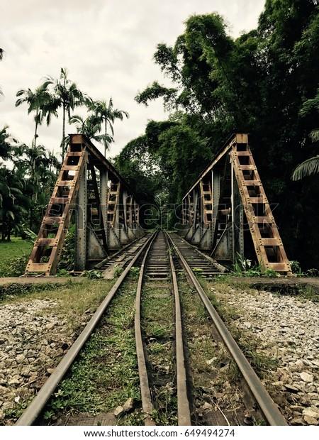 Metal Wooden Made Railroad Crossing Green Stock Photo (Edit