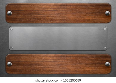 Metal and wooden signboards with rivets on steel background