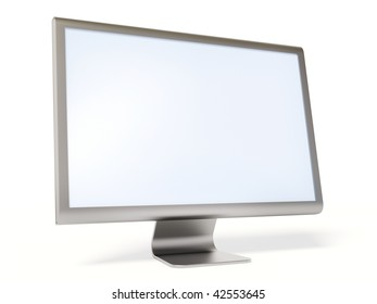 metalic monitor on white background