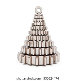 metall fir tree from machine gear on white background. 3d Illustrations