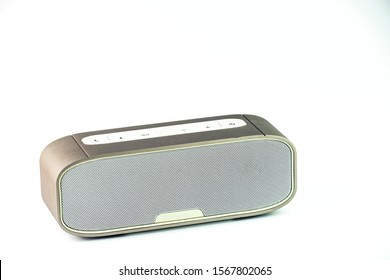 Metall wireless speaker in white background.