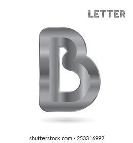 Metallic alphabet. Set of stainless 3d letters. Letter B.