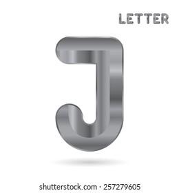 Metallic alphabet. Set of stainless 3d letters. Letter J.