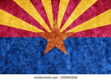 Metallic Arizona state flag, Arizona flag background Metallic texture