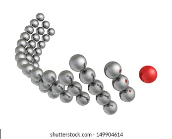 metallic arrow of the balls with the red leader in front