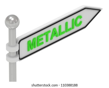 METALLIC arrow sign with letters on isolated white background
