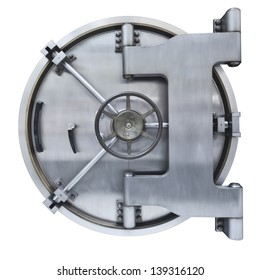 The metallic  Bank vault door on a white background