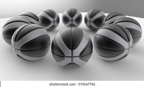 Metallic Basketball. 3D illustration. 3D CG. High resolution.