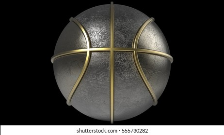 Metallic Basketball with Gold Line. 3D illustration. 3D CG. High resolution.