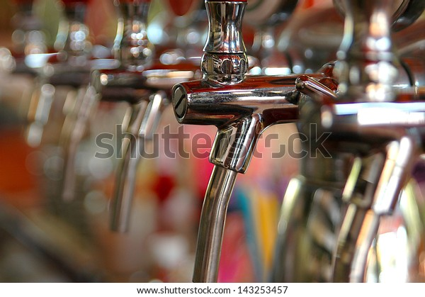 Metallic beer taps