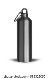 Metallic black water bottle with a carabiner attached to the top isolated on white background. With clipping path.