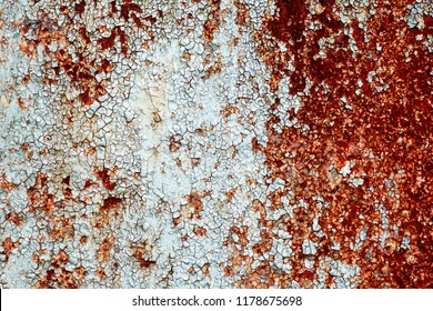 metallic blue wall with rust close up. Abstrackt consept background