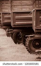 Metallic body parts of tractor trailers unique photo