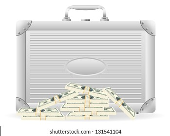 metallic briefcase with packed dollars illustration isolated on white background
