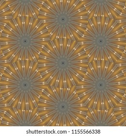 Metallic, bright gold, brown, black, star pattern with texture. Abstract design, illustration for wallpaper, fabric, print, holiday