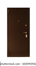 a metallic brown apartment door on the outside with an eye in the door frame. Glossy painted surface.