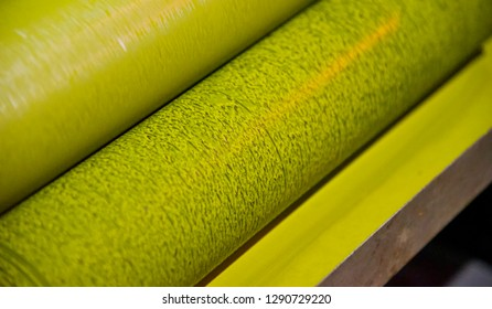Metallic colour roll of a printing machine isolated photo
