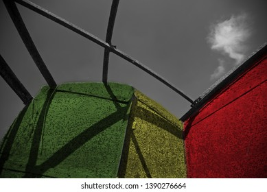 A metallic colourful structure with sky background photo