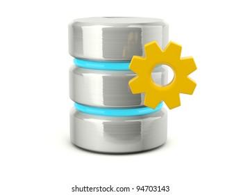 Metallic data base settings icon isolated on white